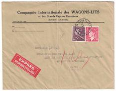 1953 BELGIQUE - LETTRE EN EXPRES SPOEDBESTELLING ENTETE COMPAGNIE Des WAGONS LITS POUR PARIS CAD BRUXELLES BRUSSELS - Covers & Documents