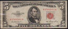 USD 1953 RED SEAL LINCOLN $5. UNITED STATES NOTE. LN A COLLECTIBLE GRADE.. - Small Size -Taglia Piccola (1928-...)
