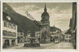 Altdorf - Telldenkmal - Strassenbahn - Foto-Ansichtskarte - Verlag E. Goetz Luzern - UR Uri