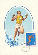 D30872 CARTE MAXIMUM CARD 1966 POLAND - ATHLETICS RUNNING CP ORIGINAL - Athletics