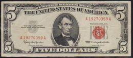 USD 1963  LINCOLN $5. UNITED STATES NOTE. LN A VERY NICE GRADE.. - Small Size -Taglia Piccola (1928-...)