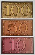 BILLET DE JEU - FRANCE - BONJOUR LA FRANCE - LOT DE 3 : 10, 50 Et 100 POINTS - ANNEE 50/60 - UNIFACE - France