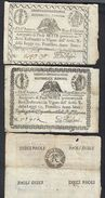 PONTIFICIO REPUBBLICA ROMANA ASSEGNATI 7+9+10 ( Cerchio ) PAOLI 1798 ANNO 7° RETRO Q.BB/BB LOTTO 273 - Unclassified