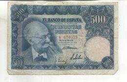 Billet El Banco De Espana, 500 Pesetas  (Billet Vendu Dans L'état) - [ 3] 1936-1975 : Regency Of Franco