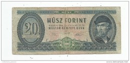 Billet , HONGRIE , 1969 , 20 FORINT - Hongrie