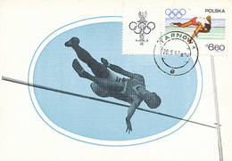 D30876 CARTE MAXIMUM CARD 1967 POLAND - ATHLETICS HIGH JUMP OLYMPICS CP ORIGINAL - Athletics