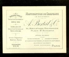 Carte De Visite  Visitekaart  France Paris   Manufacture De Chapeaux A. Berteil & Cie - Exposition Universelle 1900 - Cartes De Visite