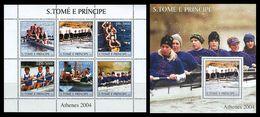 S. TOME & PRINCIPE 2003 - Rowing, Athenes Olympics - Mi 2174-9 + B449, YT 1662-7 + BF257, Sc 1574-5 - Sao Tome En Principe