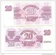 Lettland  LATVIA  Lettonia 1992  - 20 ROUBLE  CIRC -  VF ++++ - Latvia