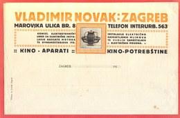CROATIA - ITALIA - V. NOVAK FILMS MEMORAND. - CINEMA  Complet. Bill - Cc 1910 - Advertising