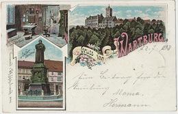 Gruss Von Der Wartburg P. Used 1898 Litho Schutz No 946 Luther To Bad Kosen - Allemagne