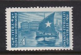 Istria Yugoslav Occupation S 46 1945 4 L Azur Mint Never Hinged - Occ. Yougoslave: Littoral Slovène