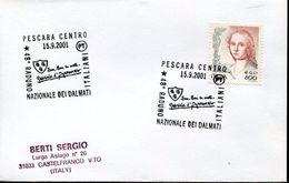 23742 Italia  Special Postmark 2001 Pescara, Gabriele D'annunzio, Raduno Nazionale Dei Dalmati - Persönlichkeiten