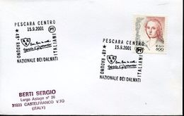 23742 Italia  Special Postmark 2001 Pescara, Gabriele D'annunzio, Raduno Nazionale Dei Dalmati - Beroemde Personen