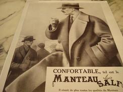 ANCIENNE PUBLICITE CONFORTABLE MANTEAU SALF 1929 - Habits & Linge D'époque