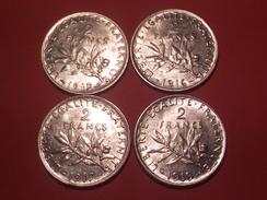SUPERBE ARGENT 4 MONNAIES FRANCAISES 2 FRANCS SEMEUSE 1915 1916 1917 1919 - I. 2 Francs