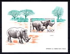 TCHAD - N°BLOC  50 - PRESERVATION DE LA FAUNE - RHINOCEROS BLANCS - EPREUVE DE LUXE DU BLOC. - Rhinozerosse
