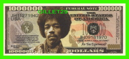 BILLETS , ONE MILLION DOLLARS - JIM HENDRIX - UNITED STATES OF AMERICA - - Non Classés