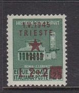 Venezia Giulia And Istria 1945 Yugoslav Trieste Occupation S7 2 Lira+2 Lira On 25c Green Mint Never Hinged - Occ. Yougoslave: Trieste
