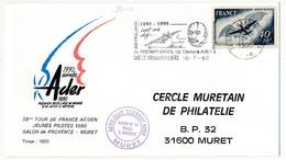 FRANCE  => Enveloppe - OMEC Gretz Armanvilliers - 38eme Tour De France Aérien Jeunes Pilotes 1990 - Avions