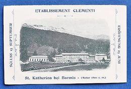 Viaggi - Cartoncino Pubblicità D'epoca - Etablissement Clementi - Bormio - Vecchi Documenti