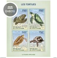 IVORY COAST 2014 SHEET TURTLES TORTUES TARTARUGAS TORTUGAS TARTARUGHE SCHILDKROTEN REPTILES MARINE LIFE Ic14121a - Côte D'Ivoire (1960-...)