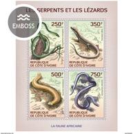 IVORY COAST 2014 SHEET SERPENTS LEZARDS LIZARDS SNAKES SERPIENTES LAGARTOS SCHLANGEN SERPENTES REPTILES Ic14120a - Côte D'Ivoire (1960-...)