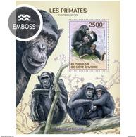 IVORY COAST 2014 SHEET PRIMATES MONKEYS SINGES MONOS SCIMMIE AFFEN MACACOS WILDLIFE Ic14119b - Côte D'Ivoire (1960-...)