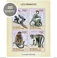 IVORY COAST 2014 SHEET PRIMATES MONKEYS SINGES MONOS SCIMMIE AFFEN MACACOS WILDLIFE Ic14119a - Côte D'Ivoire (1960-...)