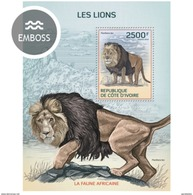 IVORY COAST 2014 SHEET LIONS LEONES WILD CATS FELINS FELINES FELINOS WILDLIFE Ic14116b - Côte D'Ivoire (1960-...)