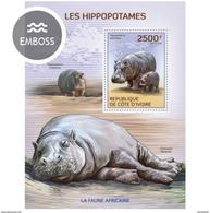 IVORY COAST 2014 SHEET HIPPOPOTAMUSES HIPPOS HIPOPOTAMOS WILDLIFE IPPOPOTAMI HIPPOPOTAMES NILPFERDEN Ic14113b - Côte D'Ivoire (1960-...)