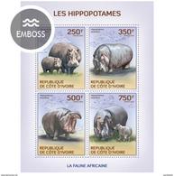 IVORY COAST 2014 SHEET HIPPOPOTAMUSES HIPPOS HIPOPOTAMOS WILDLIFE IPPOPOTAMI HIPPOPOTAMES NILPFERDEN Ic14113a - Côte D'Ivoire (1960-...)