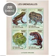 IVORY COAST 2014 SHEET GRENOUILLES RANAS FROGS RANE AMPHIBIANS ANFIBIOS RAS Ic14111a - Côte D'Ivoire (1960-...)