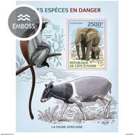 IVORY COAST 2014 SHEET ESPECES EN DANGER ENDANGERED SPECIES MONKEYS SINGES WILDLIFE ELEPHANTS PRIMATES Ic14109b - Côte D'Ivoire (1960-...)