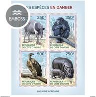 IVORY COAST 2014 SHEET ESPECES EN DANGER ENDANGERED SPECIES MONKEYS HIPPOS SINGES WILDLIFE BIRDS PRIMATES Ic14109a - Côte D'Ivoire (1960-...)