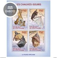 IVORY COAST 2014 SHEET CHAUVES SOURIS BATS MURCIELAGOS BASTOES FLEDERMÄUSEN PIPISTRELLI WILDLIFE Ic14102a - Côte D'Ivoire (1960-...)