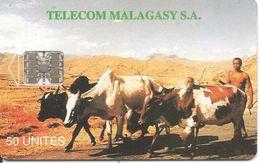 CARTE PUCE-50U--SC7-MADAGACAR-ZEBUS-V° MIASA HO ANAO- Gros N° Rouge En Bas A Droite-TBE - Madagascar