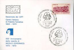 23745 Italia, Card  With Special Postmark Salsomaggiore, 500th Anniv. Kopernikus, Copernic, Copernico - Astronomùia
