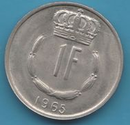 LUXEMBOURG 1 Franc 1965 KM# 51 JEAN GRAND-DUC DE LUXEMBOURG - Luxembourg
