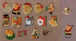 Lot De 15 Pin's + 1 Badge / Thème Noël - Christmas