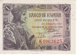 BILLETE DE ESPAÑA DE 1 PTA  DEL AÑO 1943 SERIE K SIN CIRCULAR (UNCIRCULATED) - [ 3] 1936-1975 : Régence De Franco