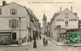CPA - EVREUX (27) - Aspect De La Rue Des Lombards Et De L'Hôtel Du Havre En 1908 - Evreux
