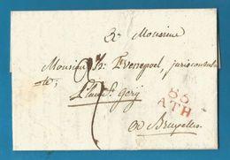 (R159) Belgique - Précurseur - LAC De LEUZE à BRUXELLES Du 6/10/1808 - 86 ATH En Rouge - 1794-1814 (Période Française)