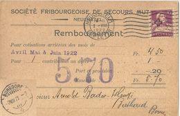"""NN Karte  """"Société Fribourgeoise De Secours Mutuels, Neuchâtel"""" - Burgdorf              1922 - Storia Postale"""
