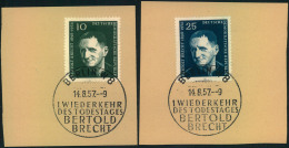 """1957, 1. Todestag Von Bertolt Brecht, Briefstücke Mit Dem Falschen ESSt """"""""BERTOLD"""""""" - DDR"""