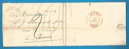 (R163) Belgique - Précurseur - LAC De BOUSSU à MONS Du 15/11/1837 - Càd BOUSSU En Rouge Sans Cercle Intérieur - - 1830-1849 (Belgique Indépendante)