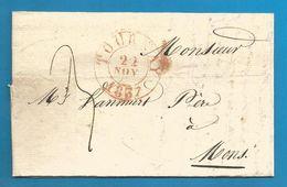 (R164) Belgique - Précurseur - LAC De TOURNAI à MONS Du 22/11/1837 - Càd TOURNAY En Rouge - 1830-1849 (Belgique Indépendante)