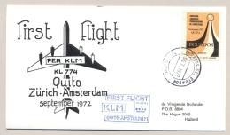 Equador / Nederland - 1972 - KLM First Flight Quito - Amsterdam - Ecuador
