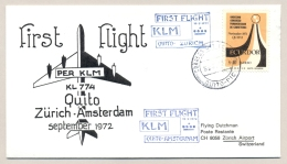 Equador / Schweiz - 1972 - KLM First Flight Quito - Zurich - Ecuador