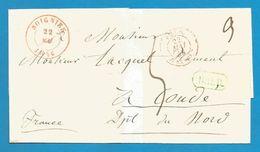(R169) Belgique - Précurseur - LSC De SOIGNIES à CONDE Du 22/5/1846 - Càd Soignies En Rouge + B2R En Vert + Belg.Val. - 1830-1849 (Belgique Indépendante)